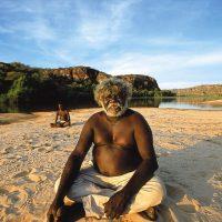 4-_lords_kakadu_and_arnemland_safaris_-_aboriginal_in_creek_bed_gallery